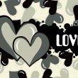Illustration of grungy love background — Vettoriali Stock