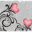 Creative floral pattern with pink heart — ストックベクタ