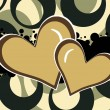 Background with grunge, hearts — Vettoriali Stock