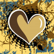 Grunge background with heart, floral — Imagen vectorial