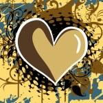 grunge achtergrond met hart, floral — Stockvector