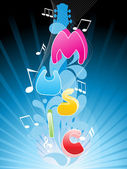 Background with wave, musical note — Stock Vector