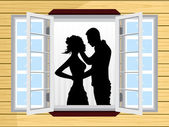 Romantic couple silhouette on window — Stock Vector
