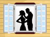Romantický pár silueta na okno — Stock vektor