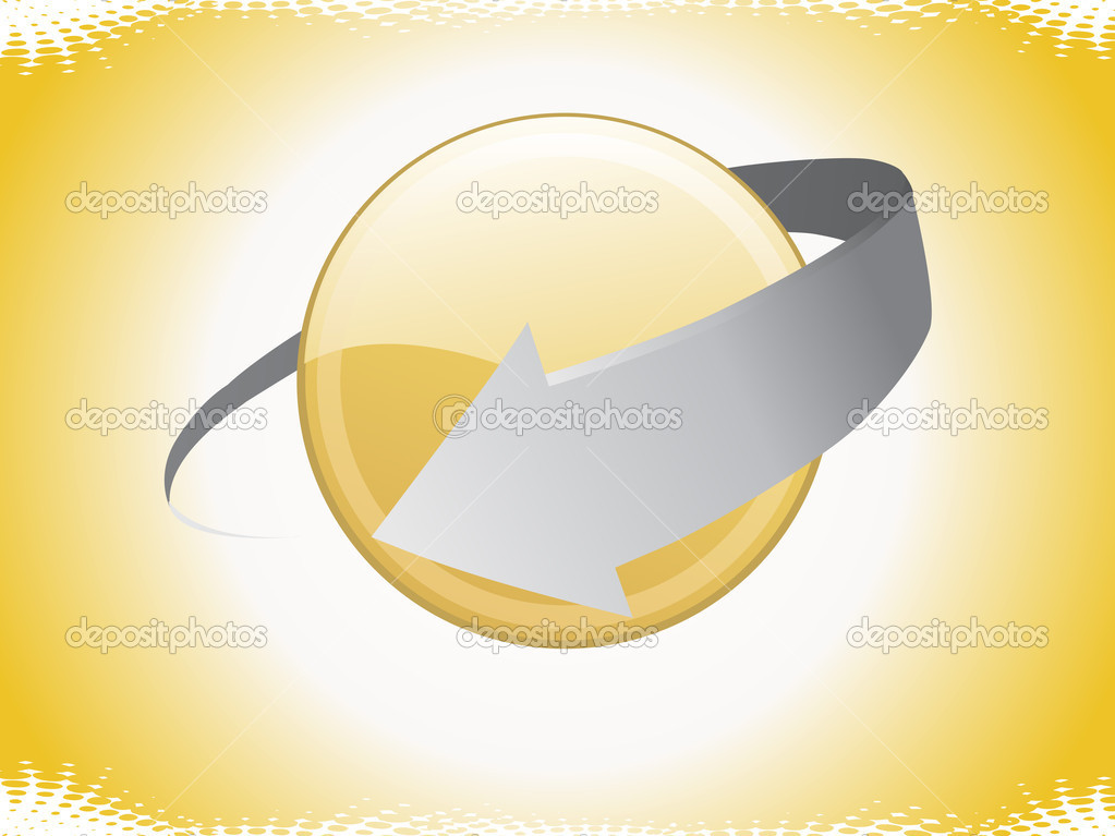 Yellow background with grey arrow, circle — Stock Vector #2274872