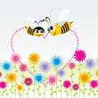 Background honeybee with heart — Stock Vector