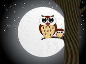 Owl sit on branch with baby owl — Stock Vector