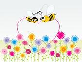Background honeybee with heart — Stock Vector