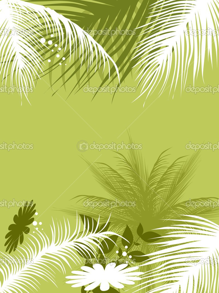 Abstract green background with tree and flower — Stock Vector #2281097