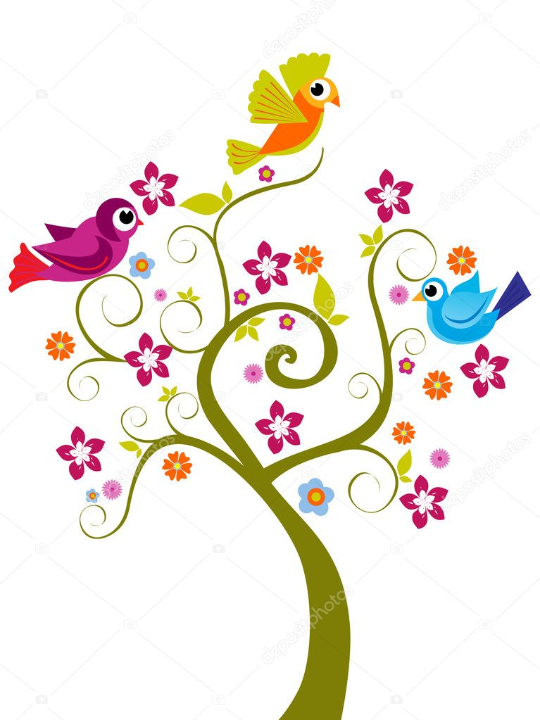 Abstract funny tree background, vector illustration  Stock Vector #2281431