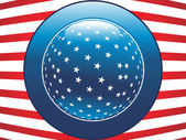 Us flag with button — Stock Vector