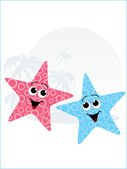 Pair of little starfish — Stock Vector