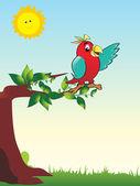 Wallpaper parrot sitting on tree branch — Stock Vector