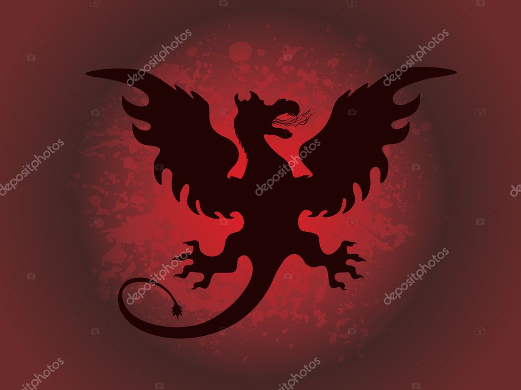 Abstract red texture background with fiery dragon — Stock Vector #2295207