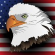 American eagles head with flag — 图库矢量图片