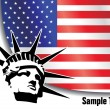 American flag with liberty statue - Stock Vector