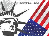 Ons vlag en vrijheidsbeeld — Stockvector