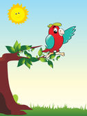 Cute parrot sitting on branch — Stock Vector