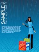 Giovane donna shopping — Vettoriale Stock