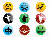 Abstract halloween sticker series set1 — Stock Vector