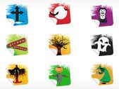 Abstract halloween sticker series set5 — Stock Vector