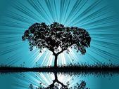 Vector retro árbol fondo — Vector de stock