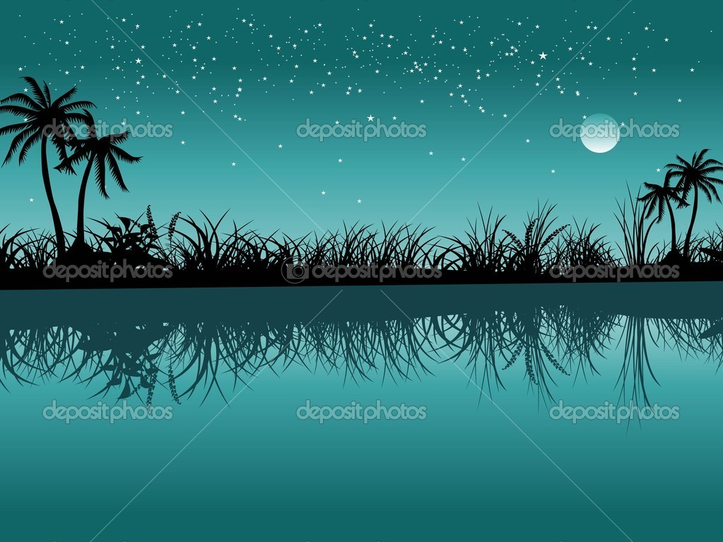 Seagreen background with garden silhouette  Stock Vector #2313614