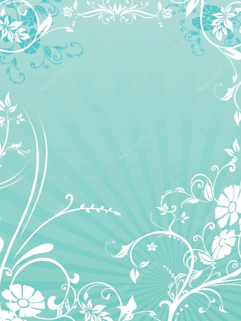 Seagreen rays background with creative floral design — Stock Vector #2313756