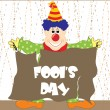 Fools day banner with joker - Stock Vector