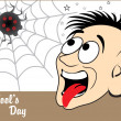 Background with funny face, spider - Stock Vector