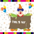 Funky background with joker, balloons - Stock Vector