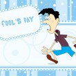 Fools day background with cartoon — Stock Vector