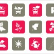 Illustration of set of icons — Stock Vector