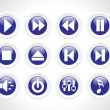 Audio rounded button icons, blue — Stock Vector