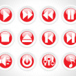 Audio rounded button icons, red - Stock Vector