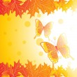 Autumn leaves and butterfly, vector - Stock Vector
