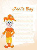Fools day gretting card with joker — Stock Vector
