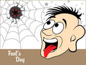 Background with funny face, spider — Vector de stock