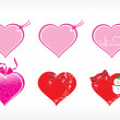 Beautiful heart design vector tags — Stock Vector