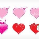 Beautiful heart design vector tags — Stock Vector