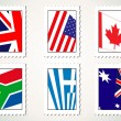 Set of stamp with world flag - Stock Vector