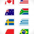 Stamp with set of world flag - Stock Vector