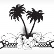 Stock Vector: Black and white summer background