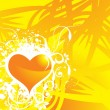 Yellow vector banner of hearts theme — Stock Vector #2364177