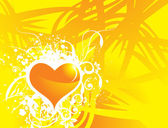 Yellow vector banner of hearts theme — Stock Vector