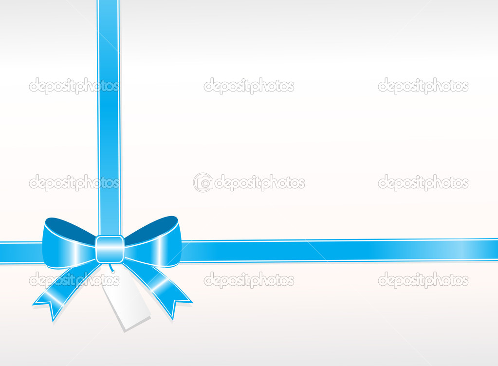 Beautiful knot of blue ribbon with tag, wallpaper — Stock Vector #2360116