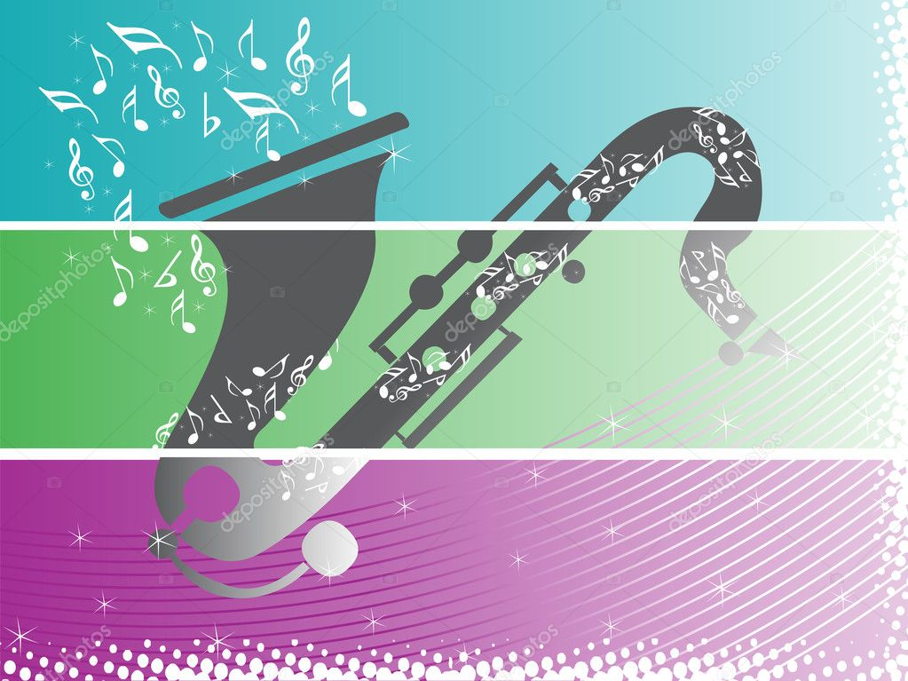Banner musical instrument in blue, wallpaper — Stock Vector #2362368