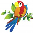 Parrot on branch illustration — Stock Vector