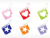 Beautiful tags in heart and star shape — Vector de stock