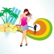 Stock Vector: Dancer on summer background,